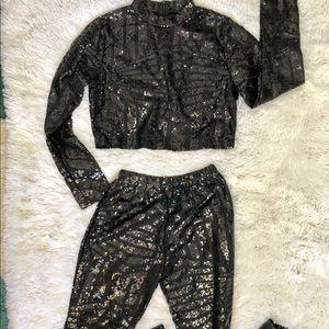 Black Sequin Crop Top Dance Costume XL